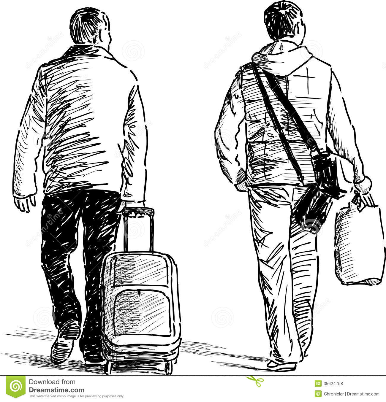 Traveling Men Stock Vector Illustration Of Adults Drawn