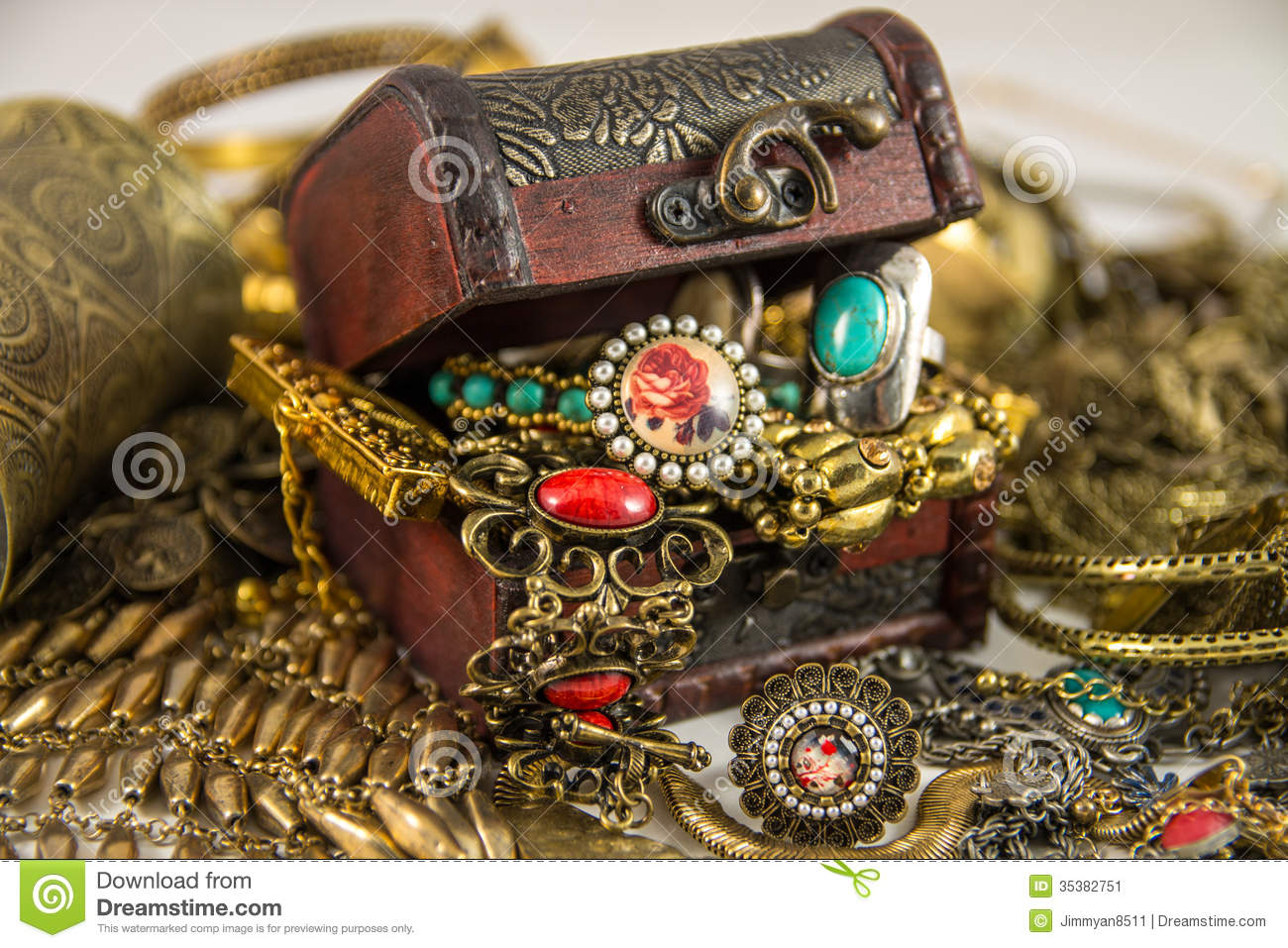 Treasure Chest Stock Image Image Of Bracelet Rings