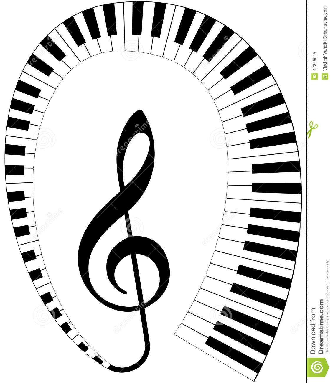 Treble Clef With Keyboard Stock Vector