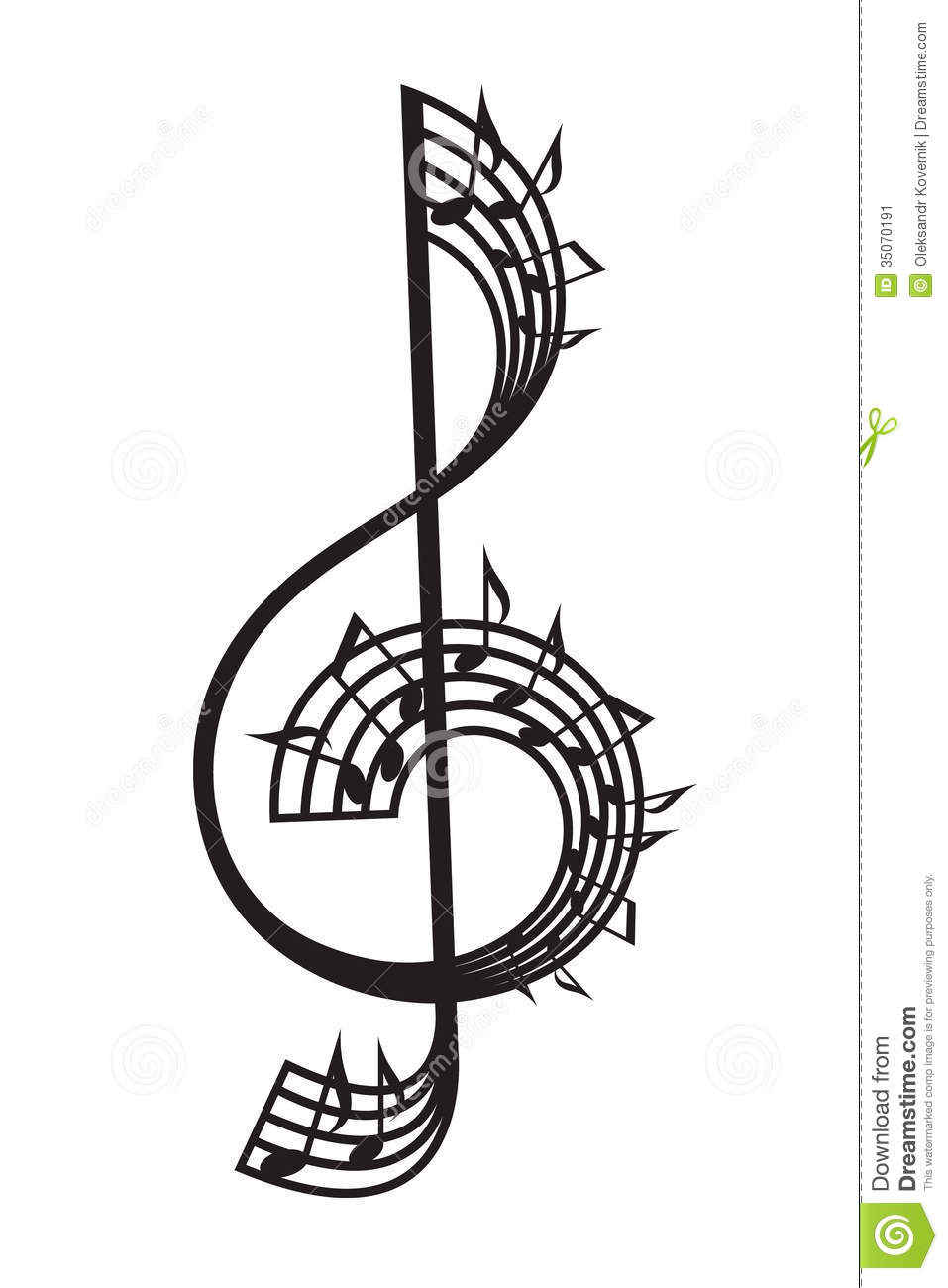 Treble clef and notes stock vector. Image of song, melody