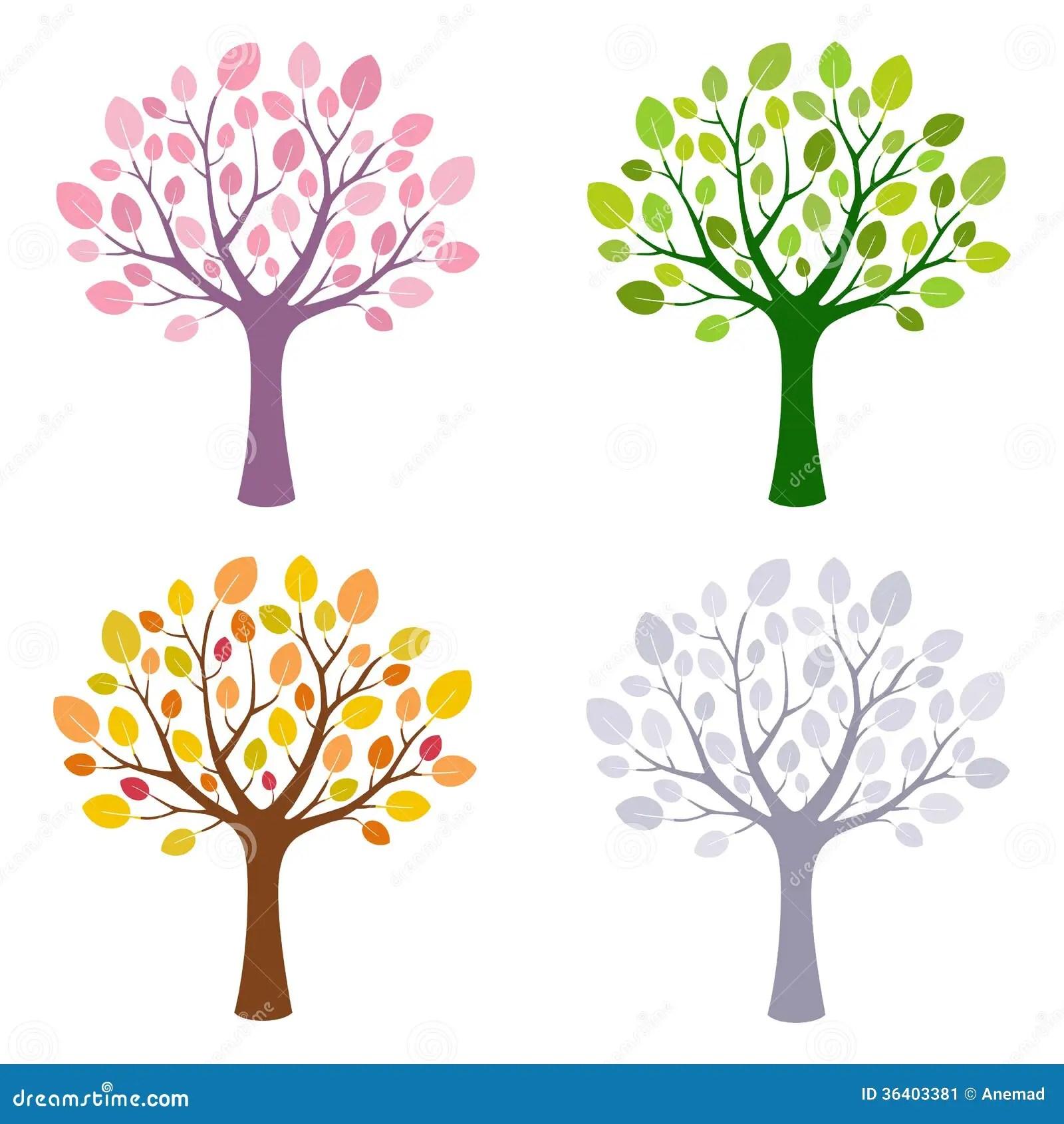 Tree In Four Season Stock Image