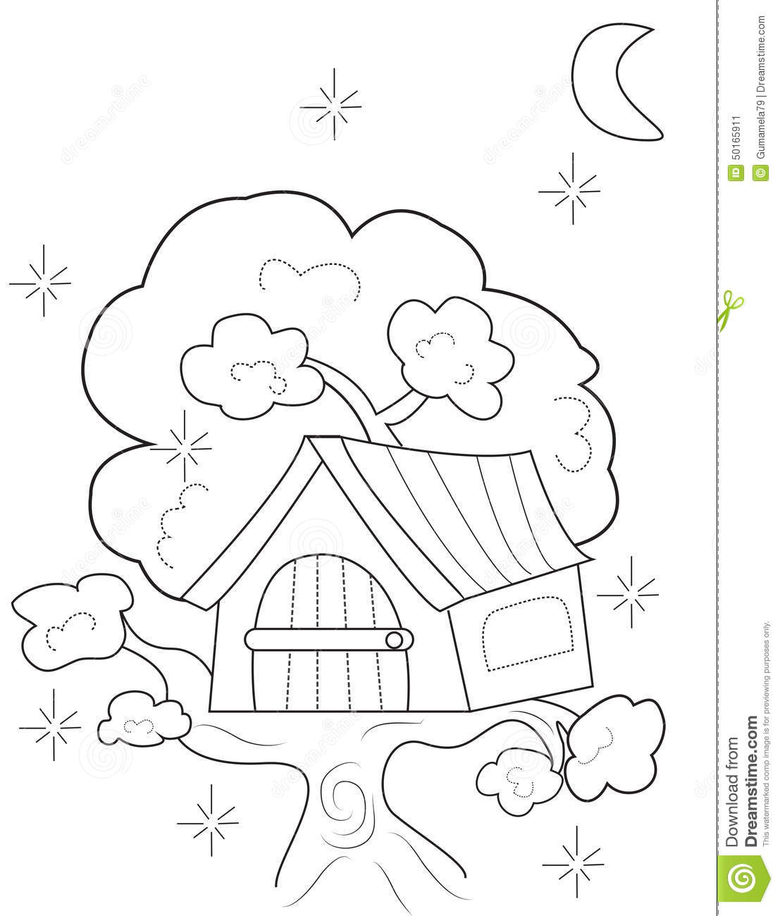 Tree House Coloring Page Stock Illustration