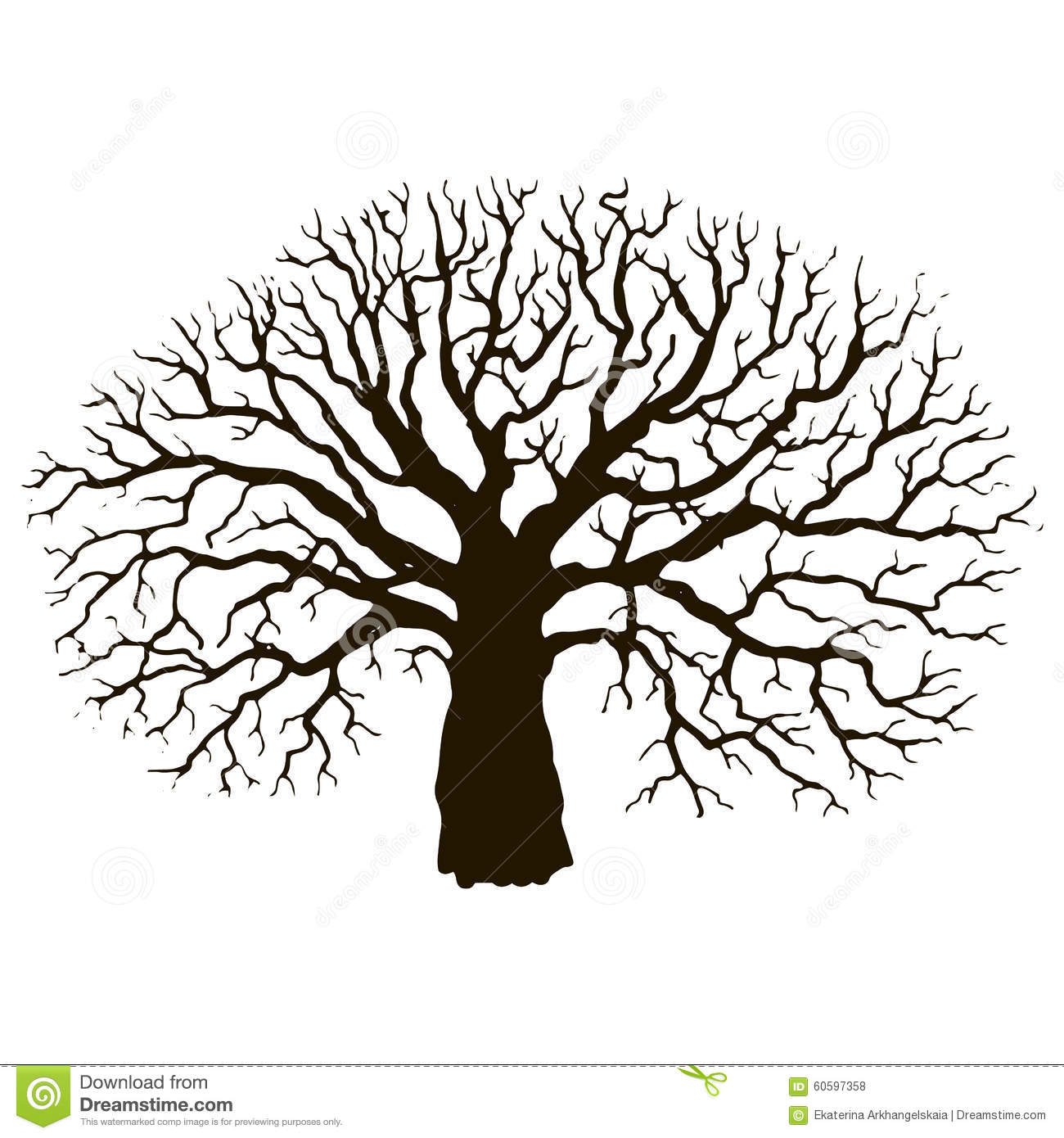 Tree Without Leaves Silhouette Stock Vector