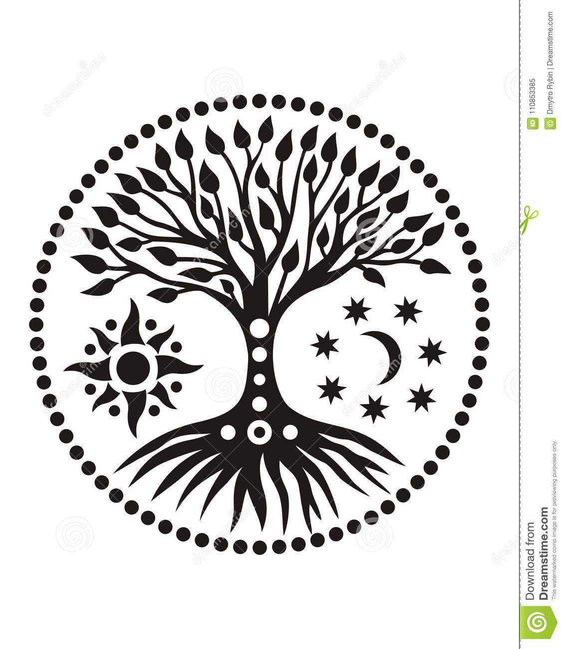 The Tree Of Life In The Solar Circle Mandala Spiritual