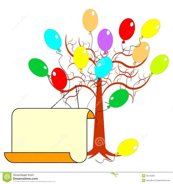 tree with colorful balloons