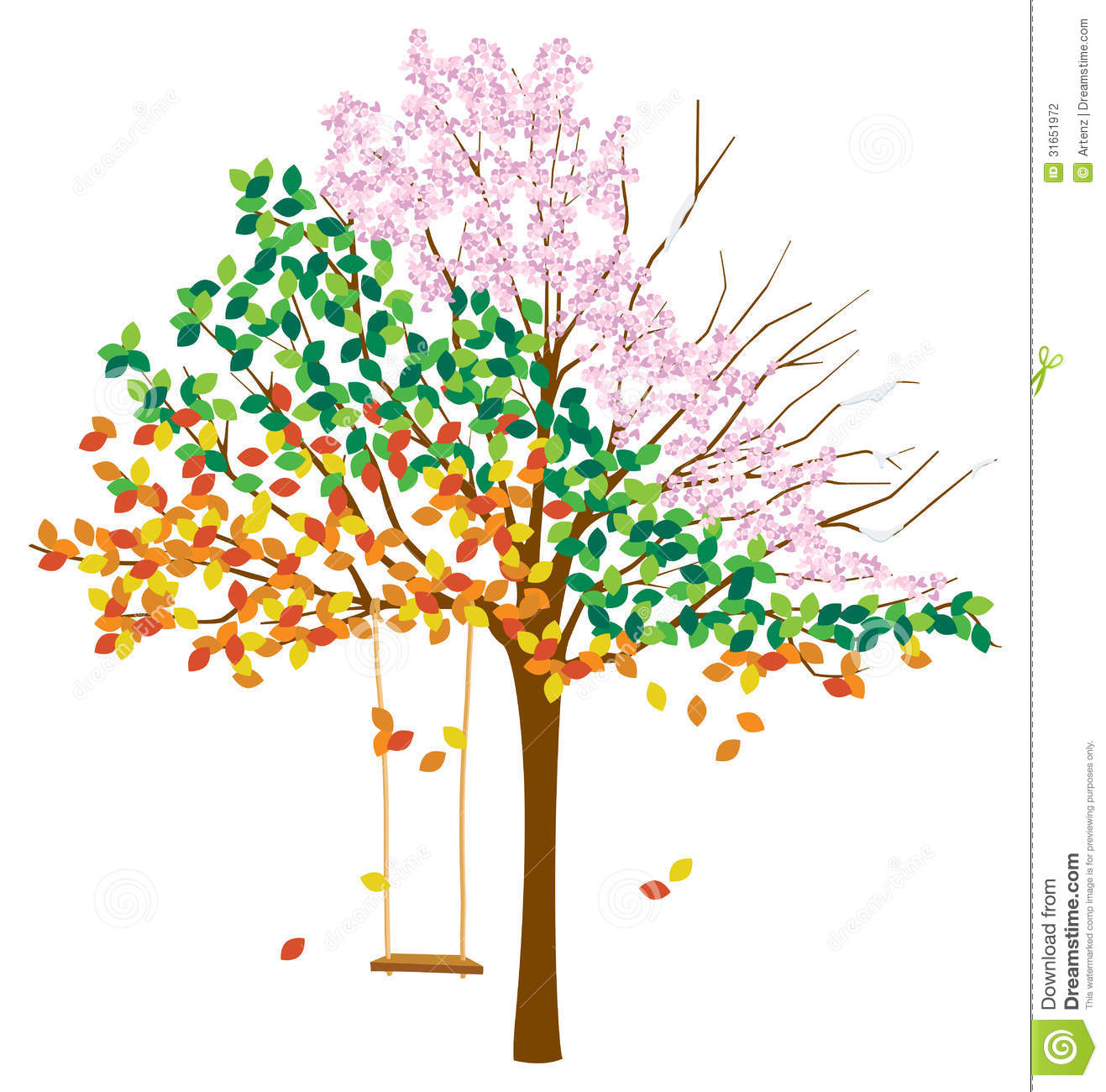 Tree With Multiple Seasons Stock Vector Illustration Of