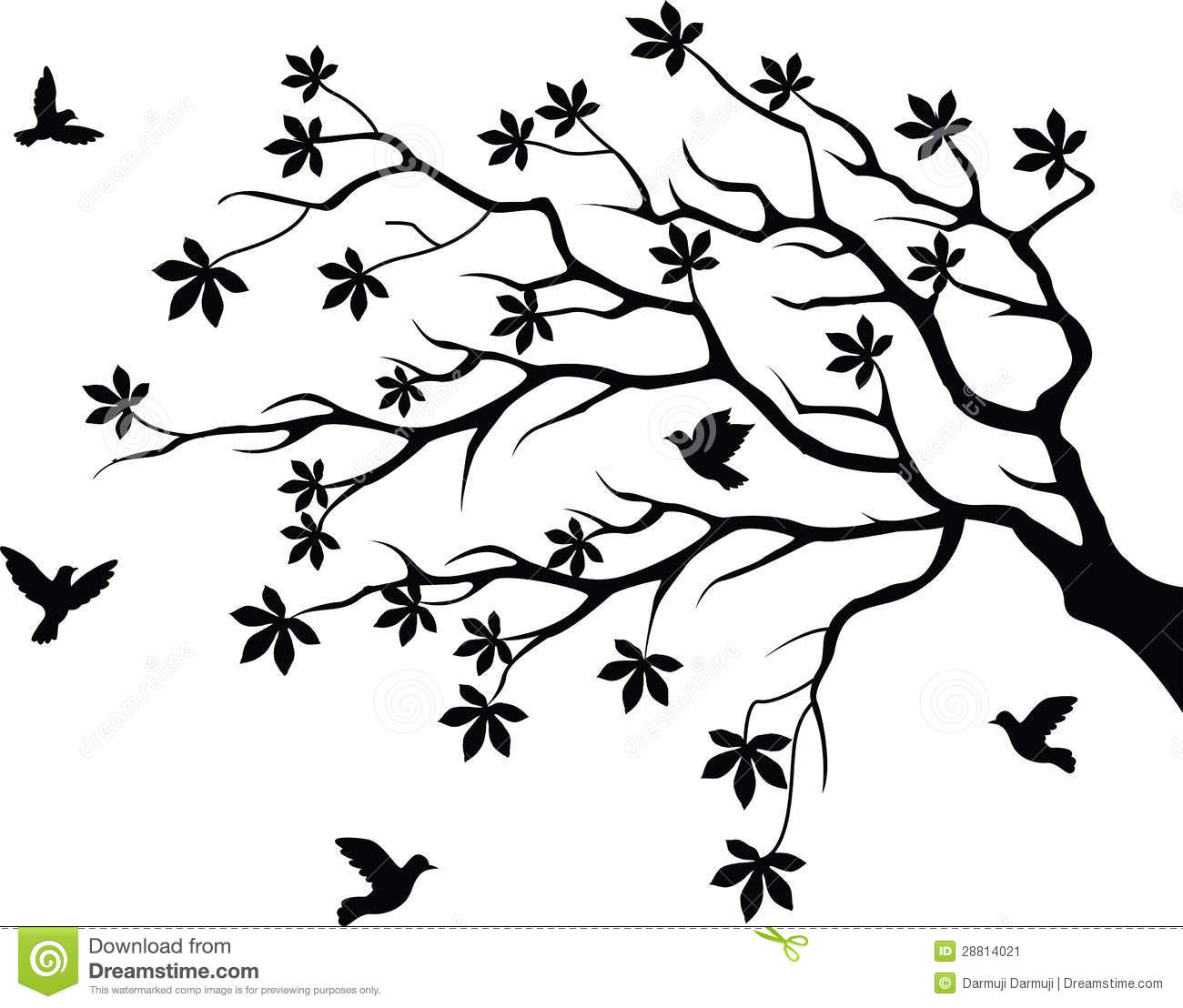 Tree Silhouette With Bird Flying Stock Vector