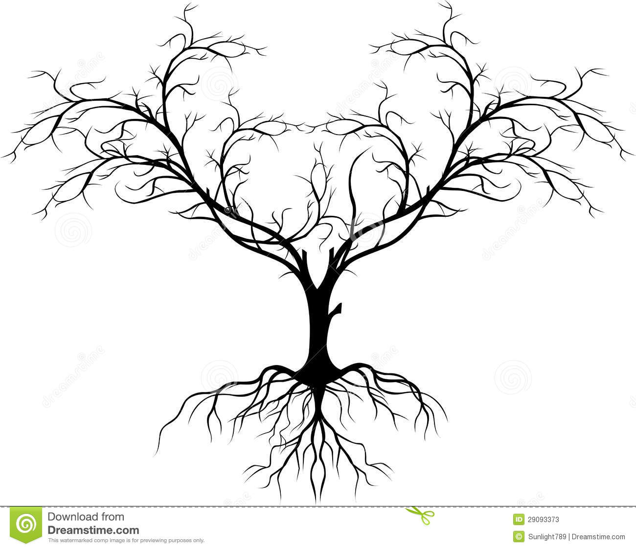 Tree Silhouette Without Leaf For You Design Stock