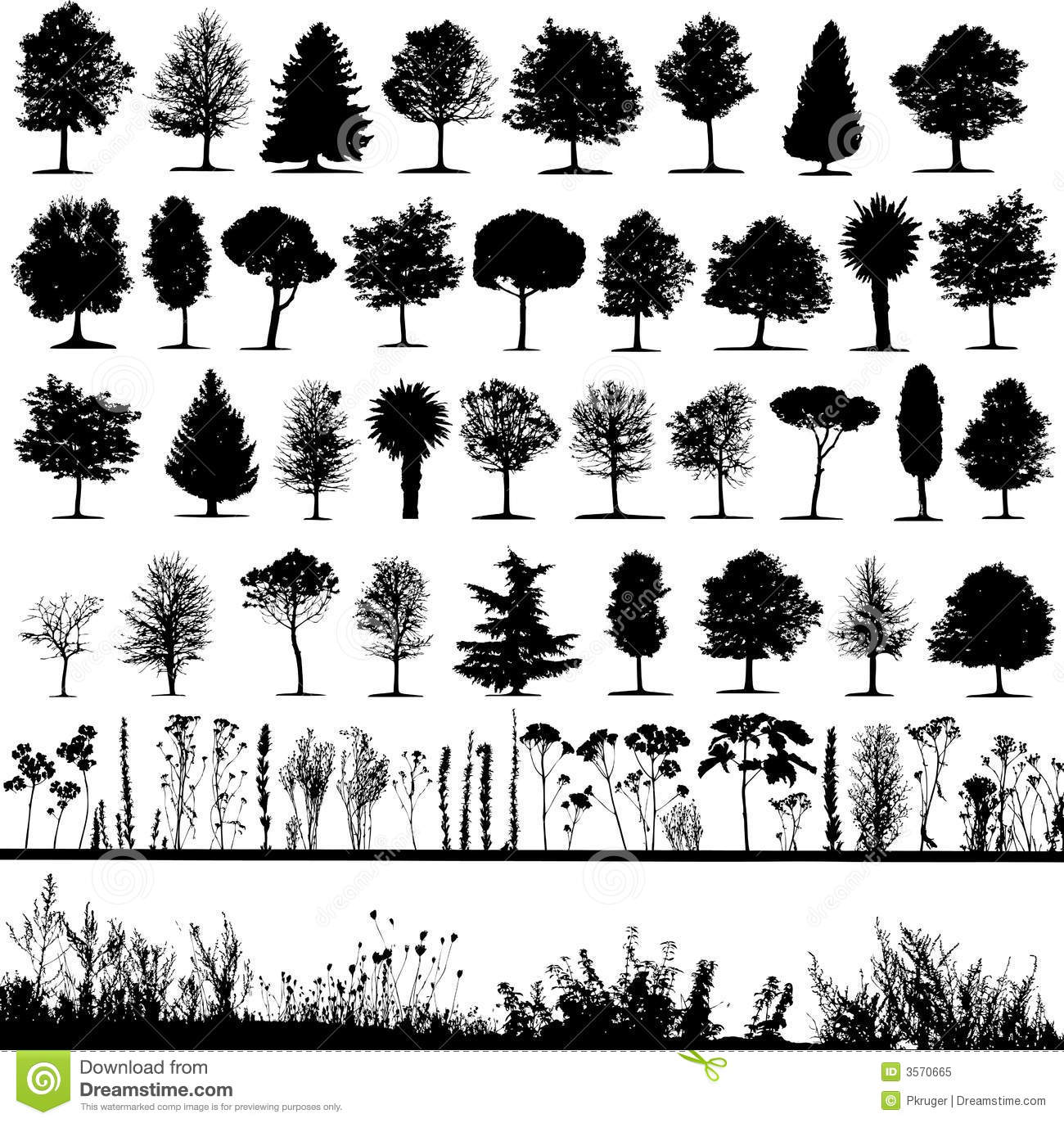 Trees Grass Plant Vector Stock Vector Illustration Of