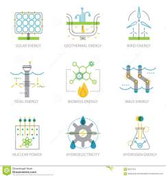 trendy linear design set of icons on electricity generation plants  [ 1300 x 1390 Pixel ]