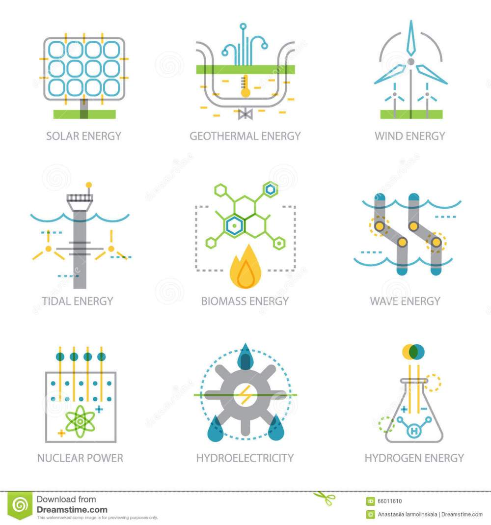 medium resolution of trendy linear design set of icons on electricity generation plants