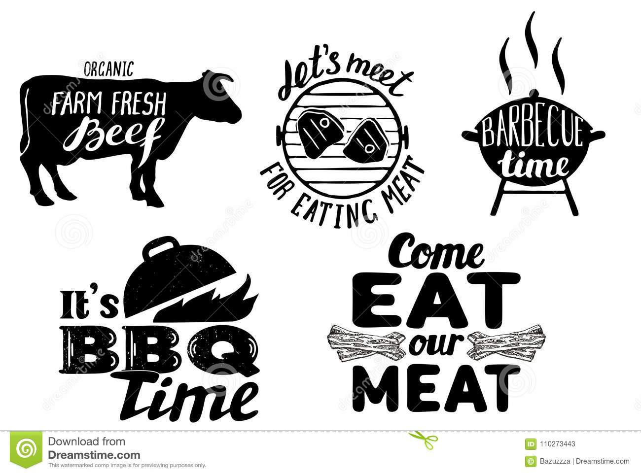 Trendy Meat Quotes Vintage Vector Hand Drawn Illustration
