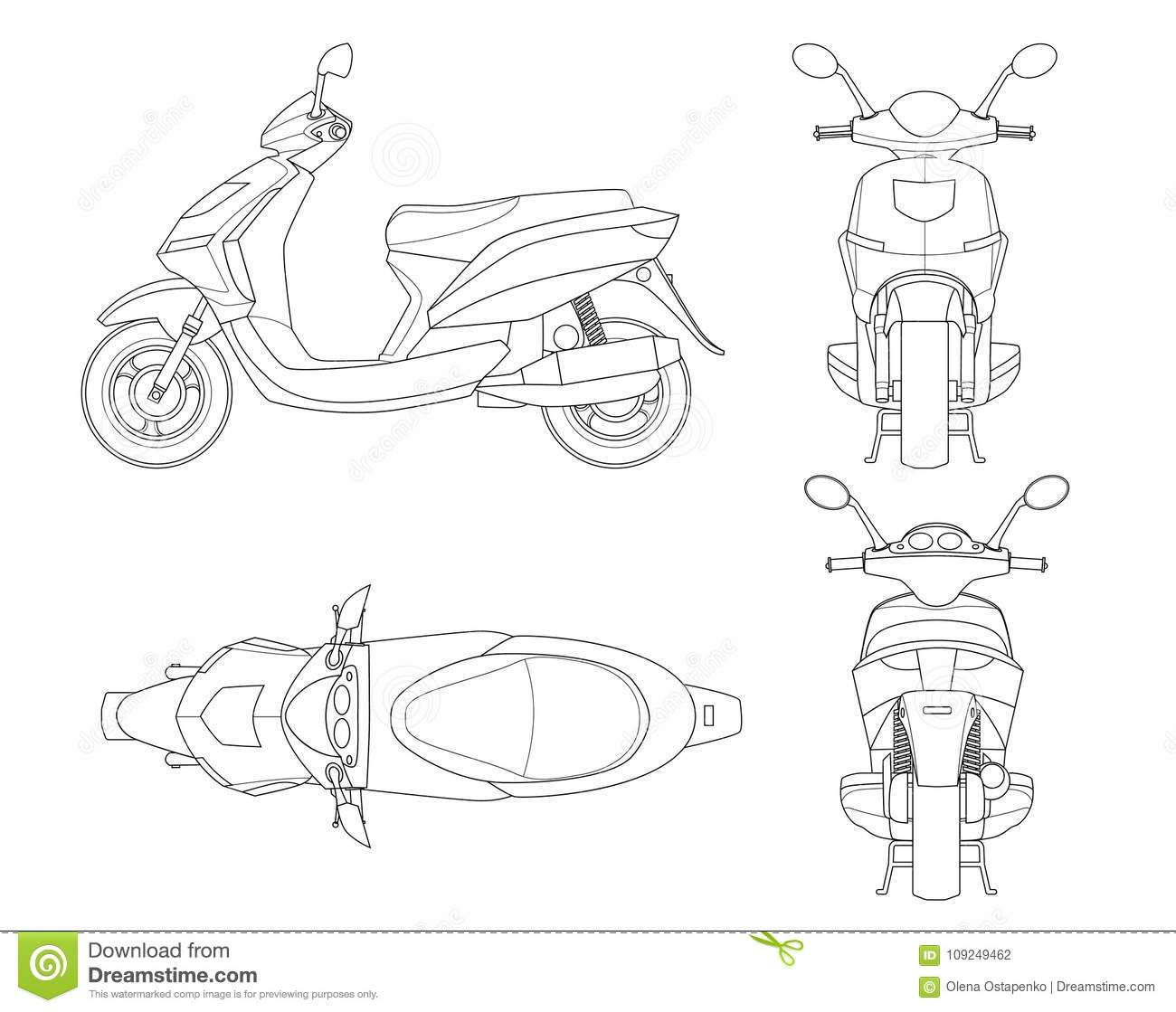 Trendy Scooter Outline Isolated On White Background