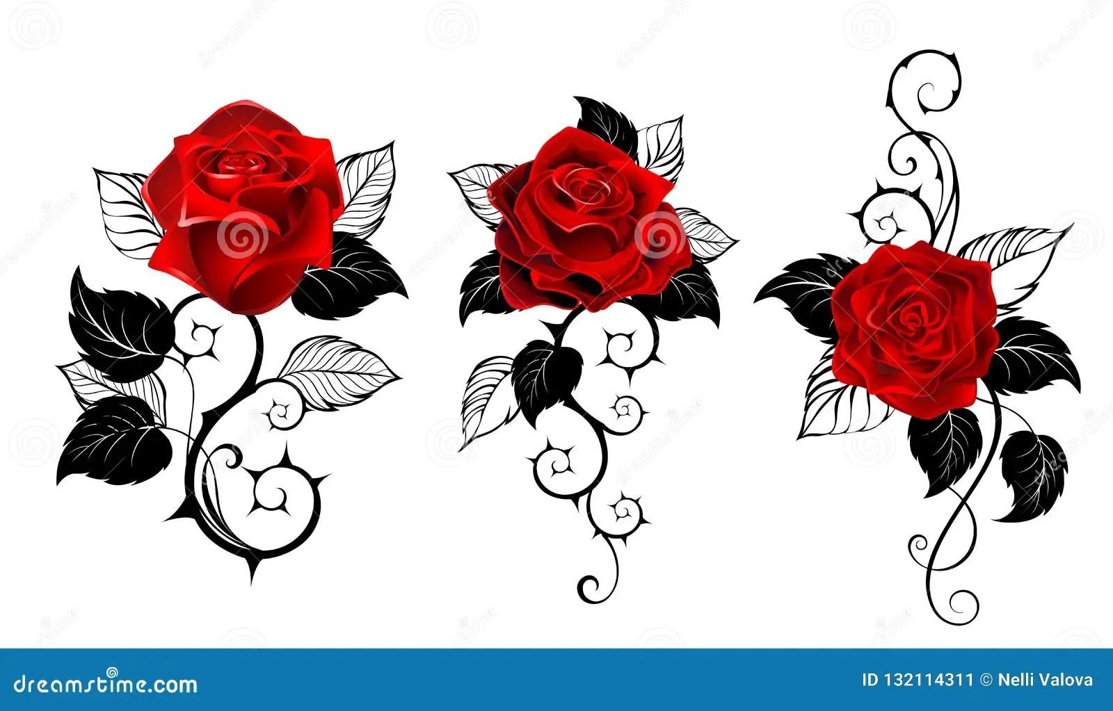 Tres Rosas Rojas Para El Tatuaje Ilustración Del Vector