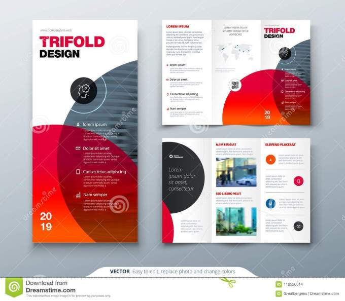 Tri Fold Brochure Design Business Template For Tri Fold Flyer Layout With Modern Circle Photo And Abstract Background Stock Vector Illustration Of Layout Banner 112526314