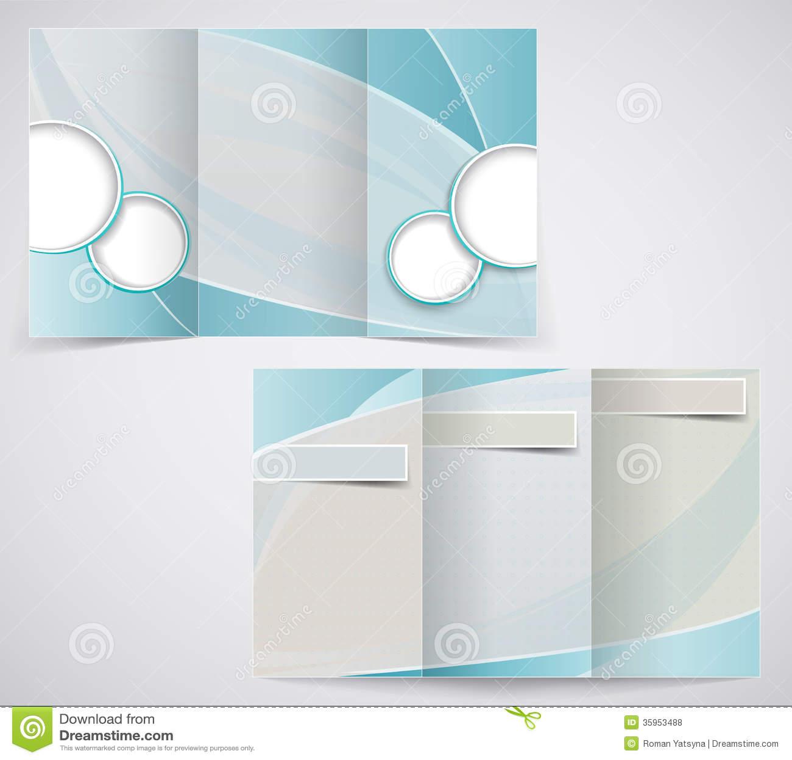 Tri Fold Business Brochure Template Vector Blue D Royalty