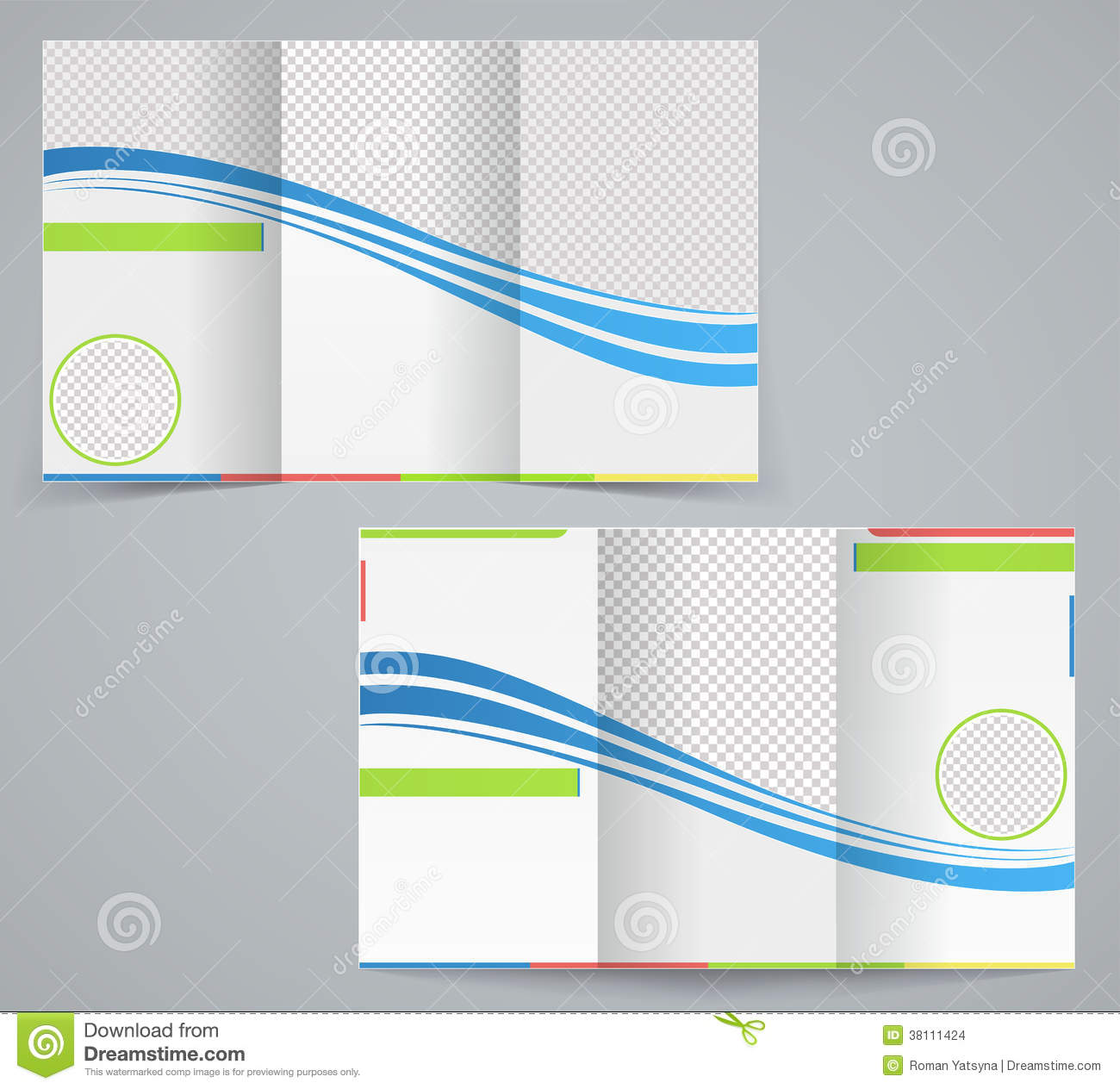 Tri Fold Business Brochure Template Stock Vector Illustration Of