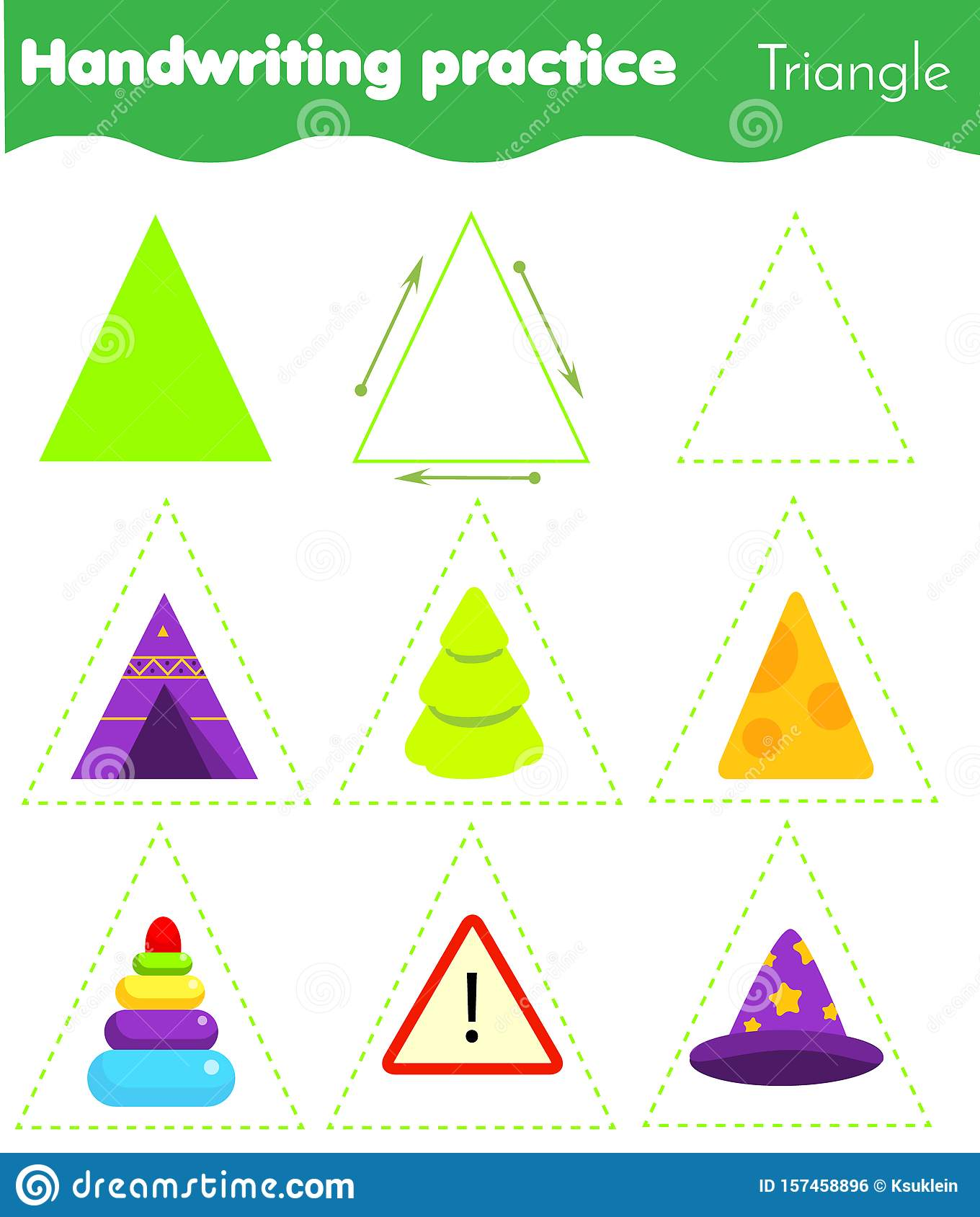 Triangle Form Objects Handwriting Practice Geometric