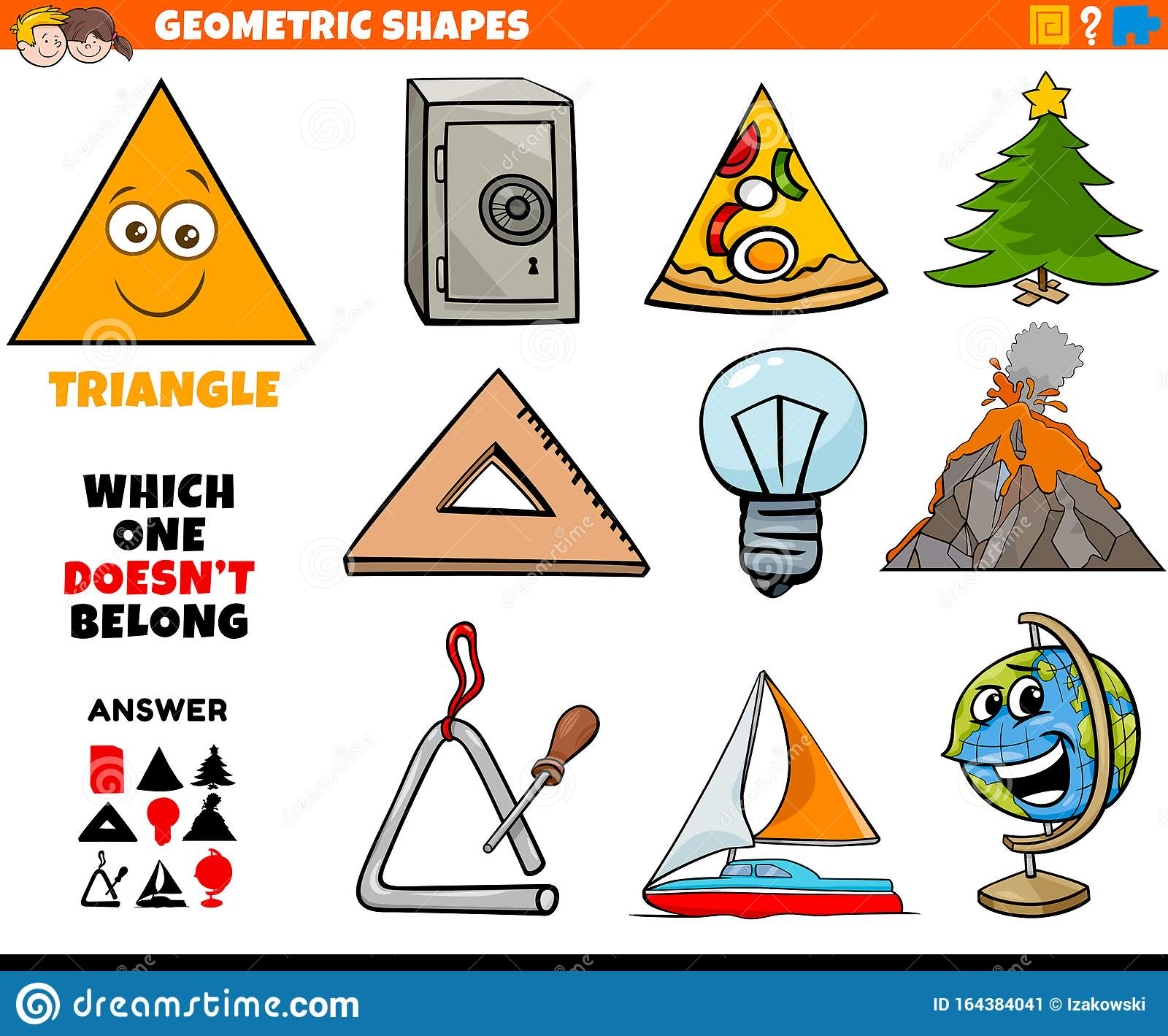 Triangle Shape Educational Task For Children Stock Vector