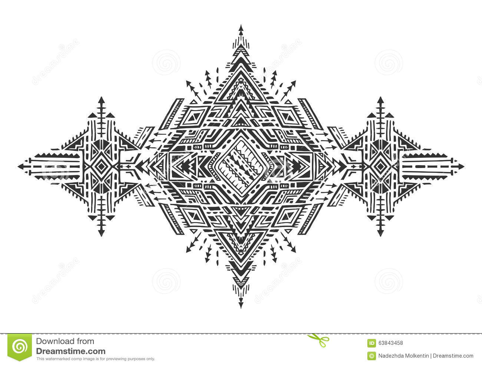 Tribal Art Boho Hand Drawn Geometric Pattern. Stock Vector