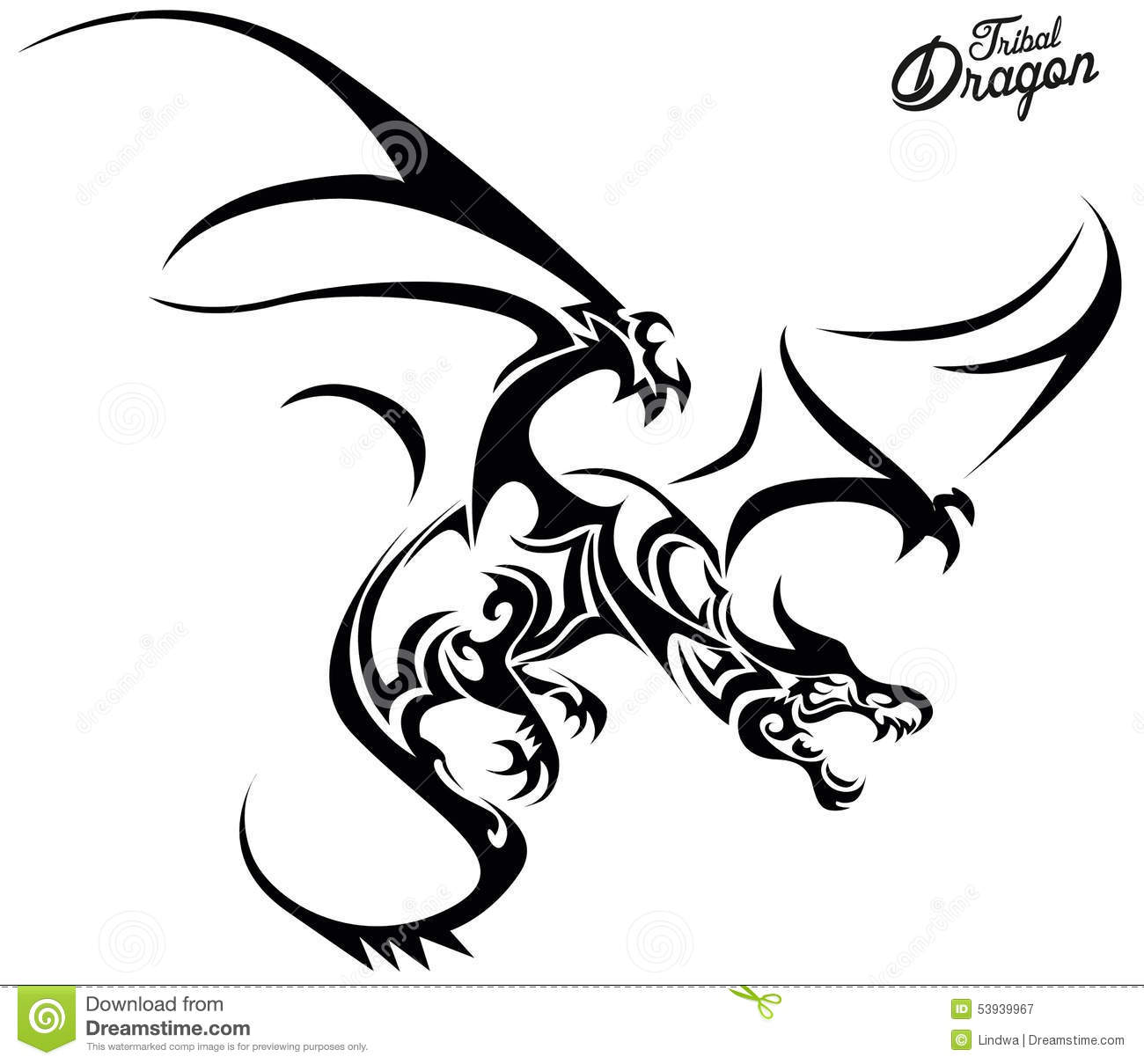 Tribal Dragon Head With An Open Mouth And Dragon Elements