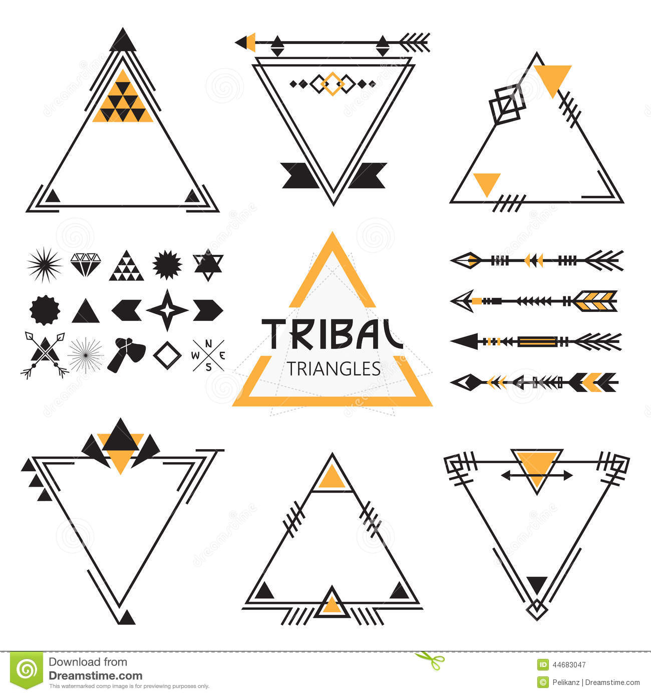 Tribal Empty Triangles Labels Arrows And Symbols Stock