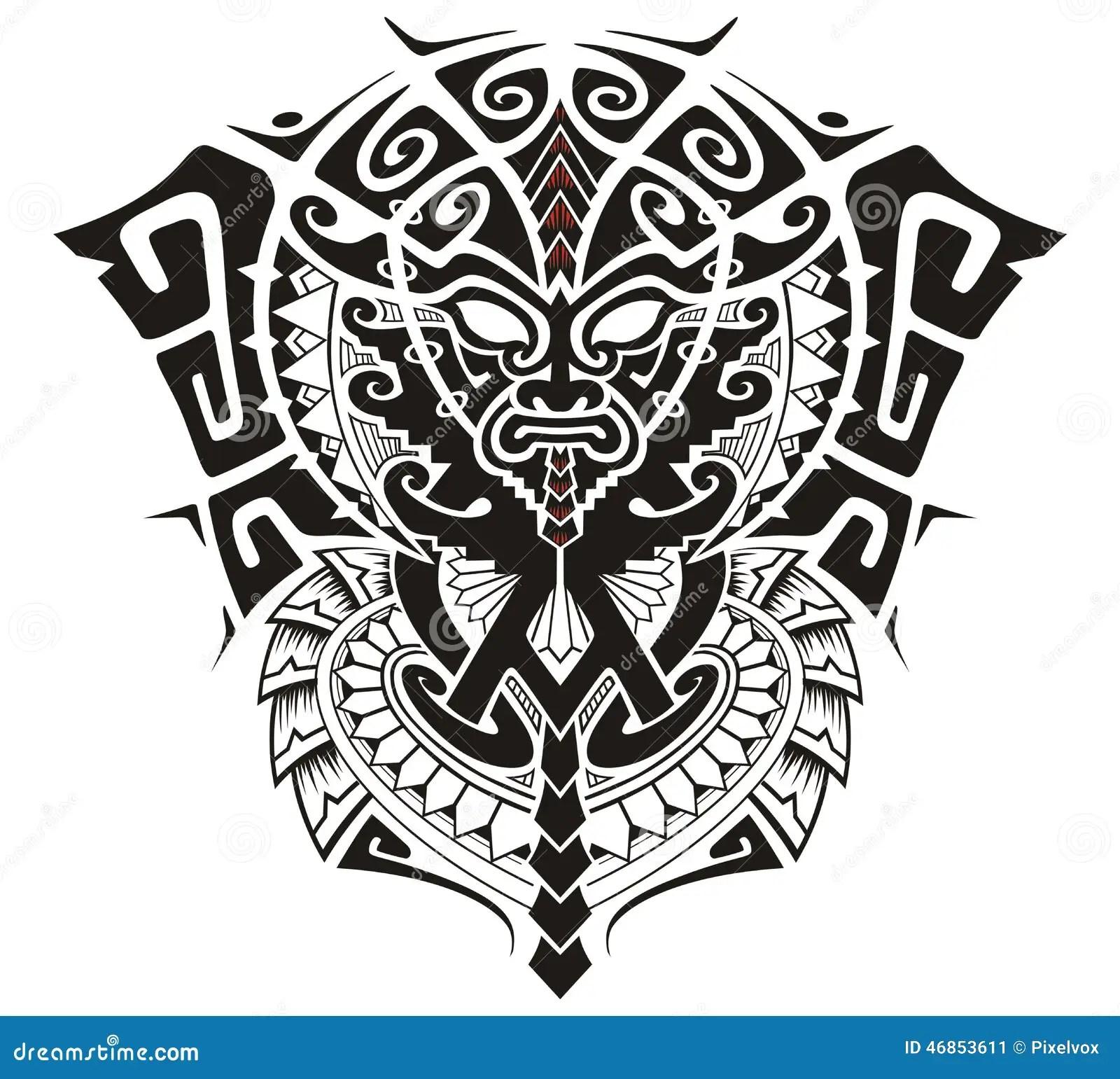 Tribal God With Alpha And Omega Symbol Vector Illustration