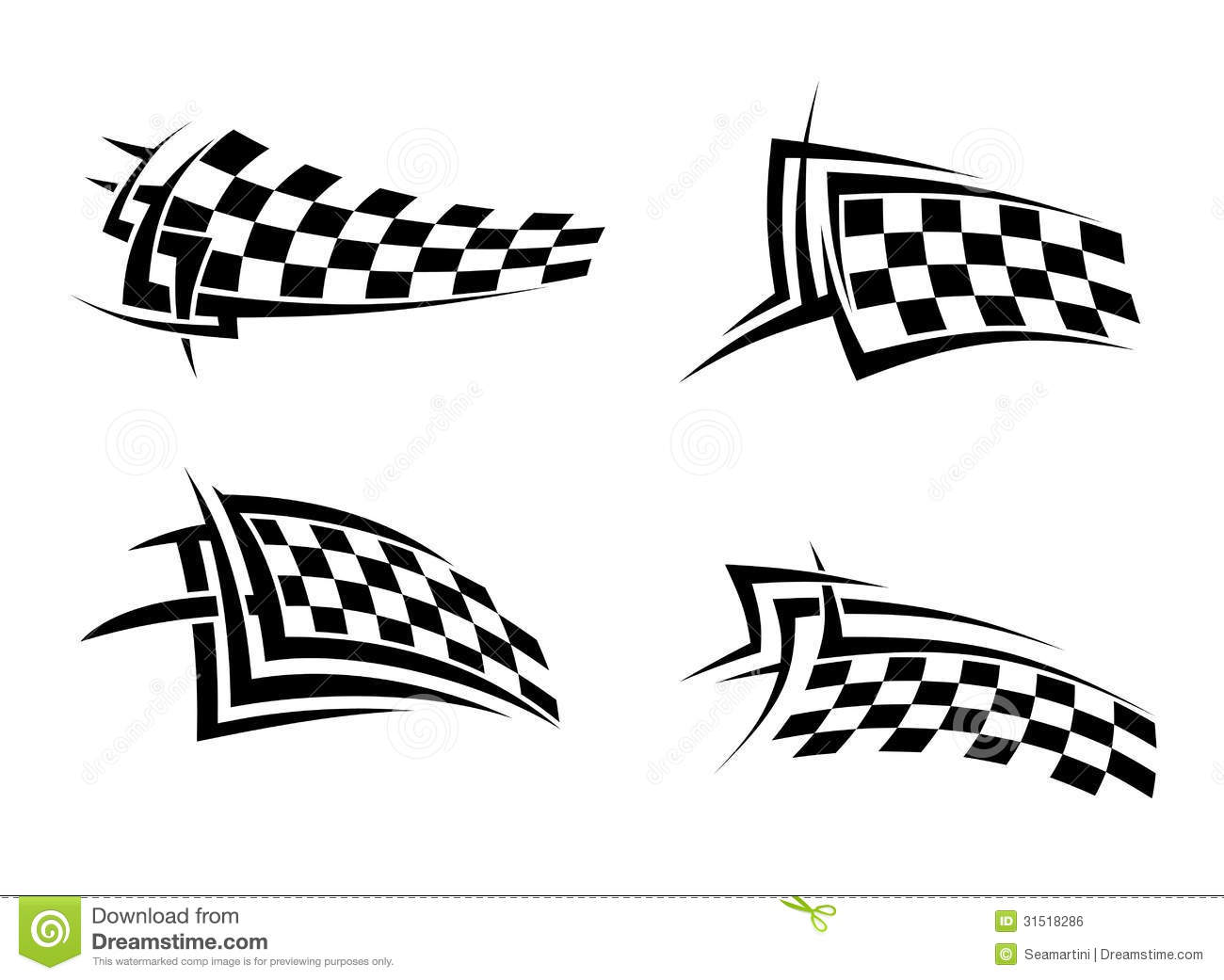 Tribal Signs With Checkered Flags Royalty Free Stock Image