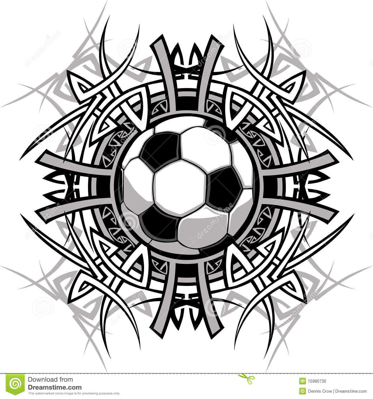 Tribal Soccer Ball Vector Logo Stock Vector