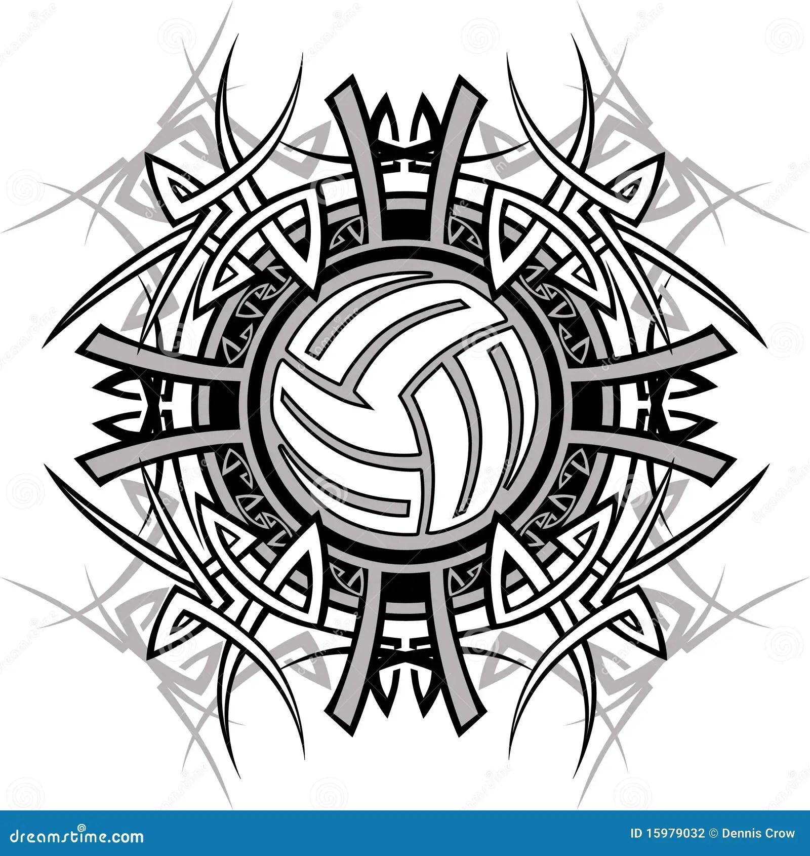 Tribal Volleyball Vector Logo Stock Illustration