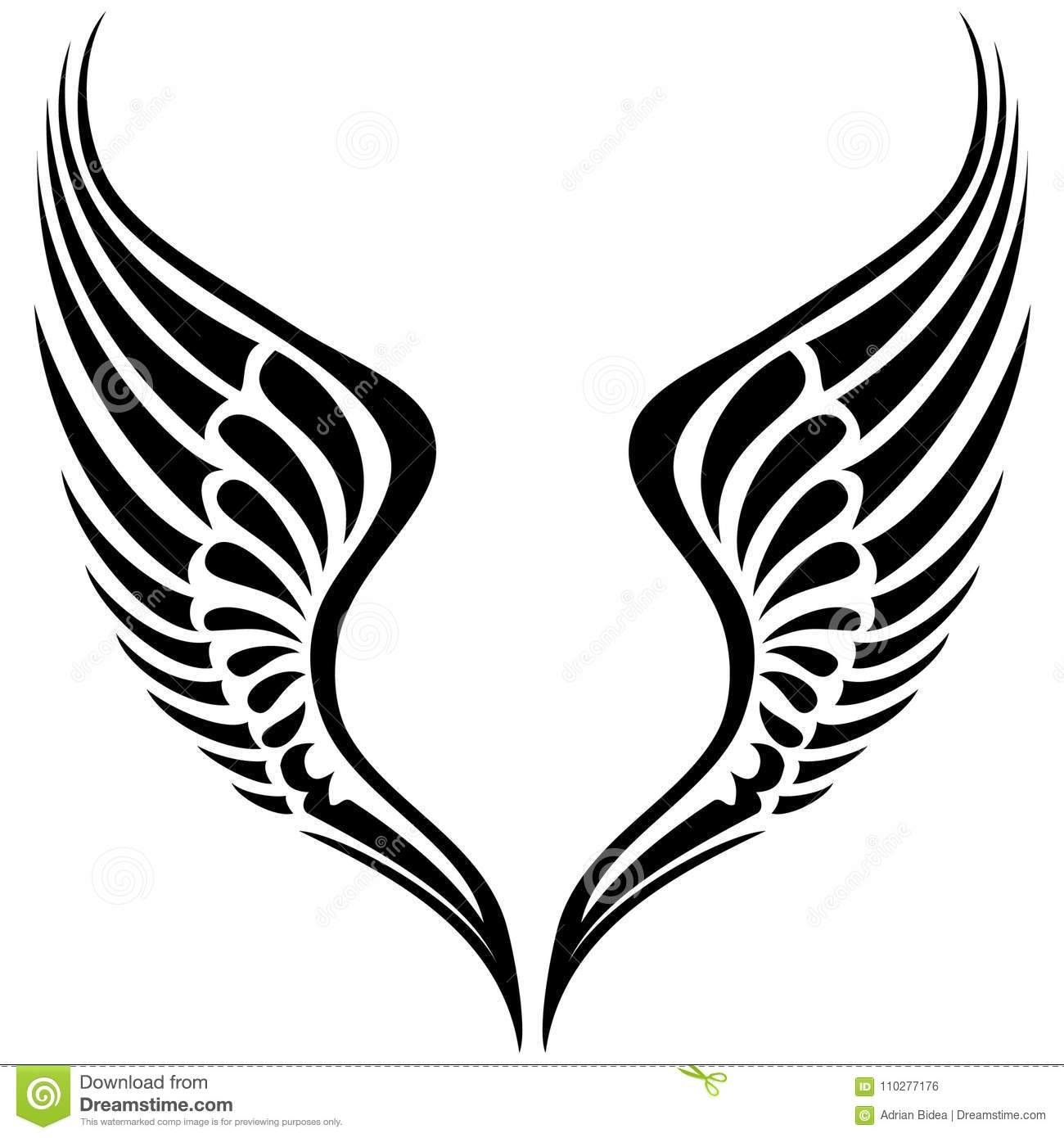 Tribal Wing Vector Silhouette Stock Vector