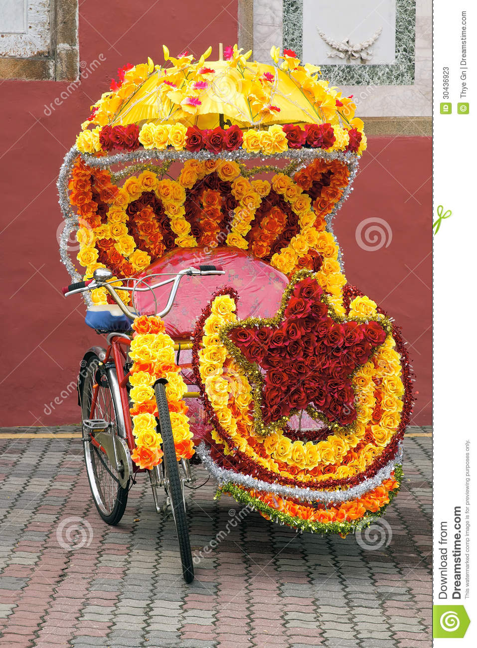 Tricycle Decorated With Silk Flowers Stock Image Image