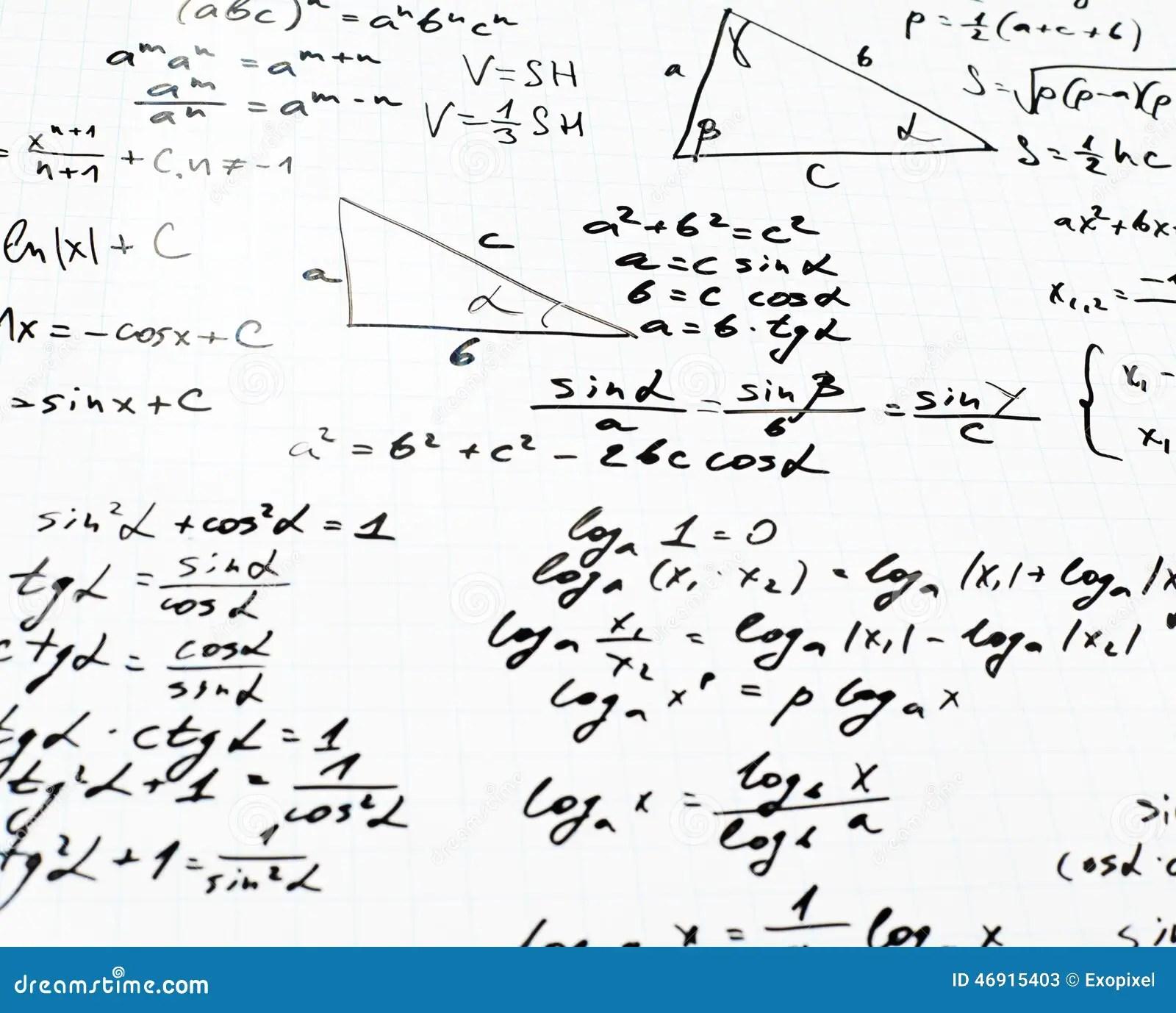 Trigonometry Math Equations And Formulas Stock Image