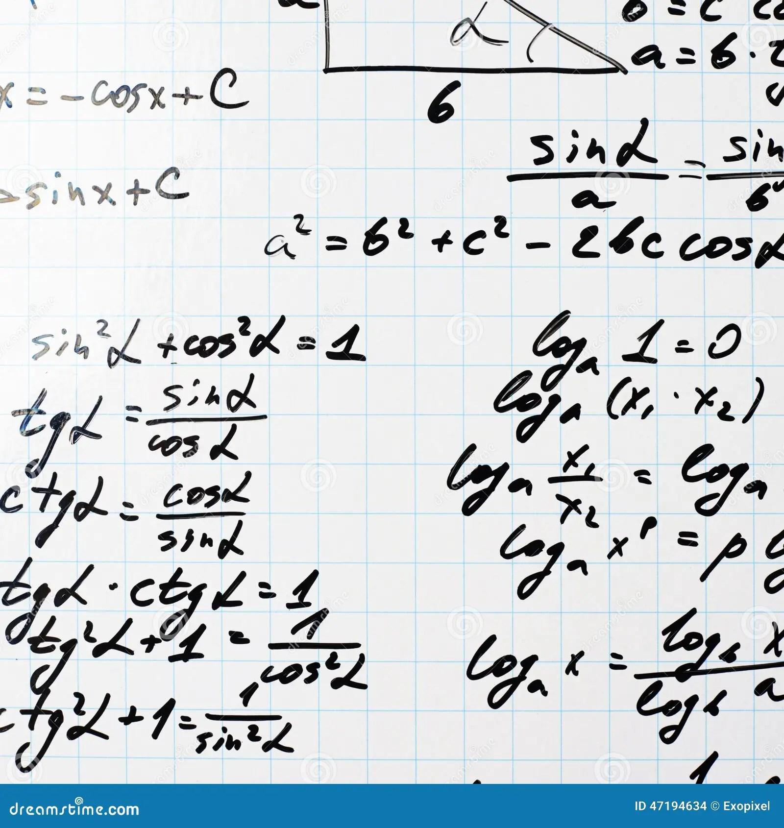 Trigonometry Math Equations And Formulas Stock Photo