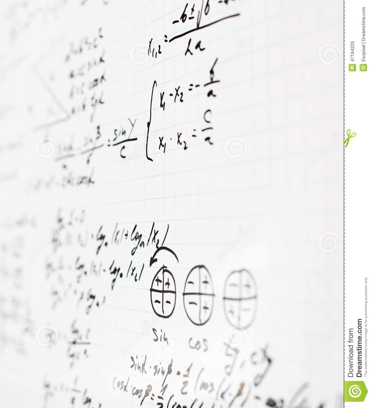 Trigonometry Math Equations And Formulas Stock Image