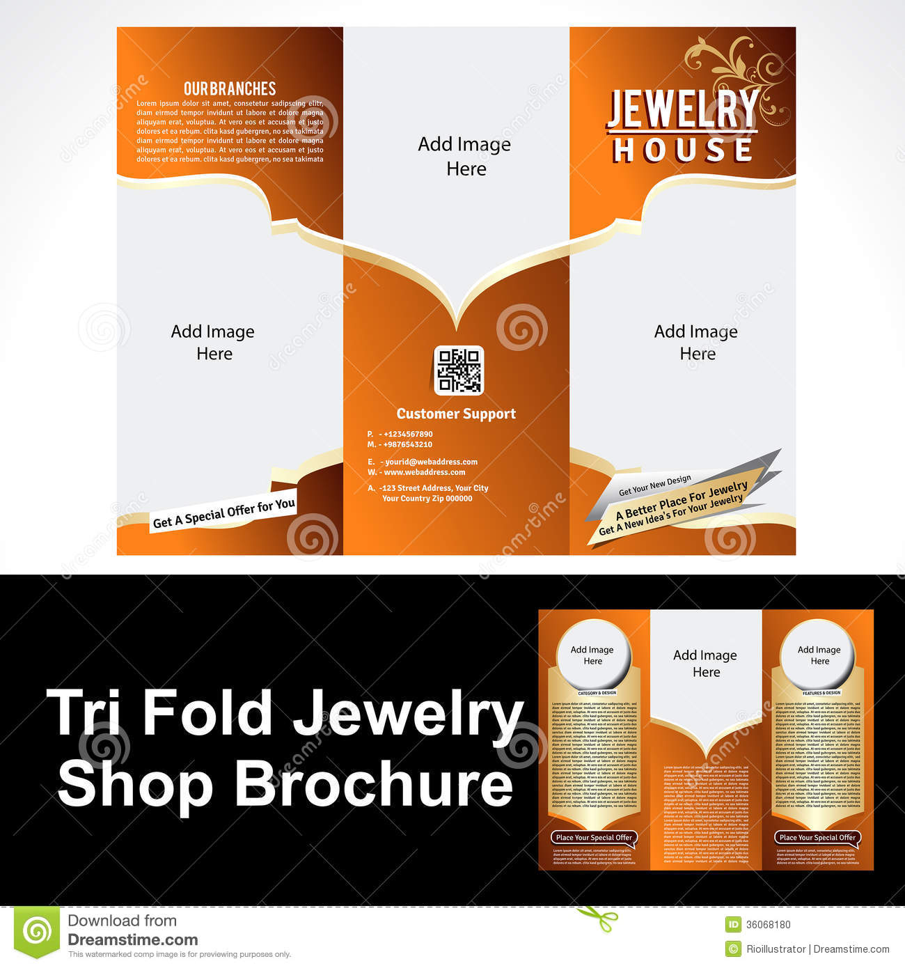 Tril Fold Jewelry Shop Brochure Stock Vector