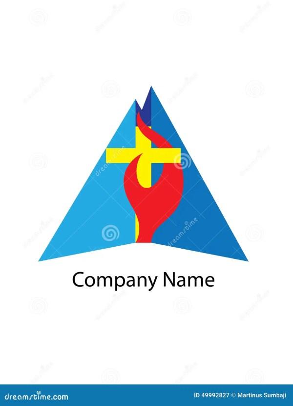 Cross Fire Christian Church Logo. Vector Illustration