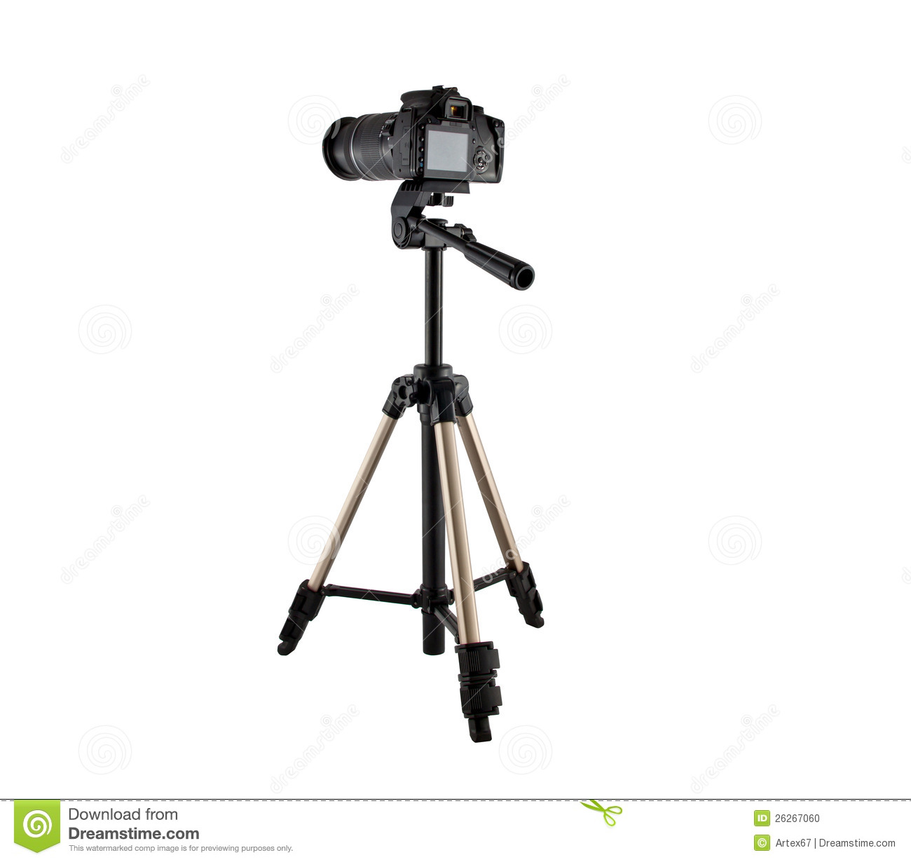 Tripod For Video And Photo Shoot With A Camera Stock Photo