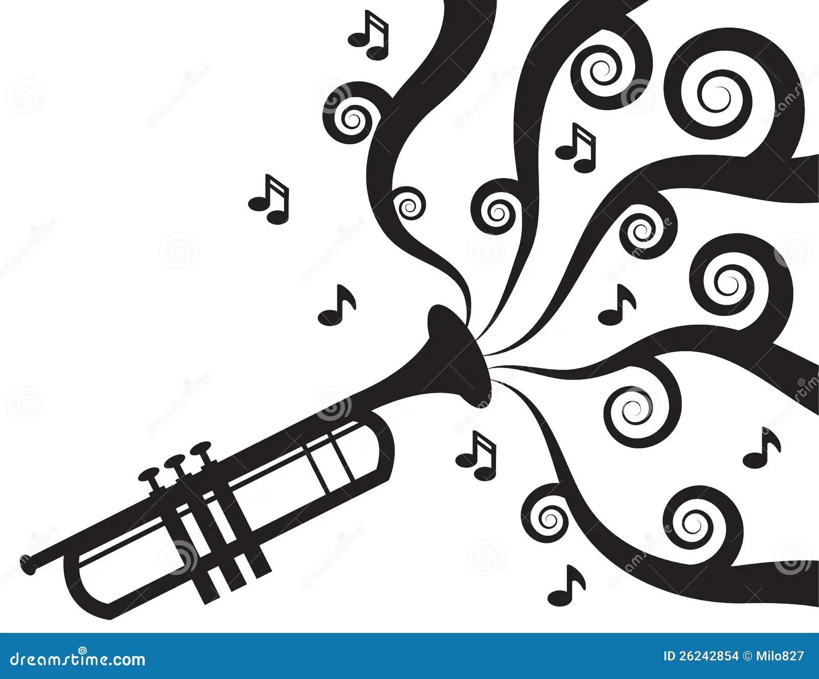 Trompete Musik Schattenbild Spielt Vektor Abbildung