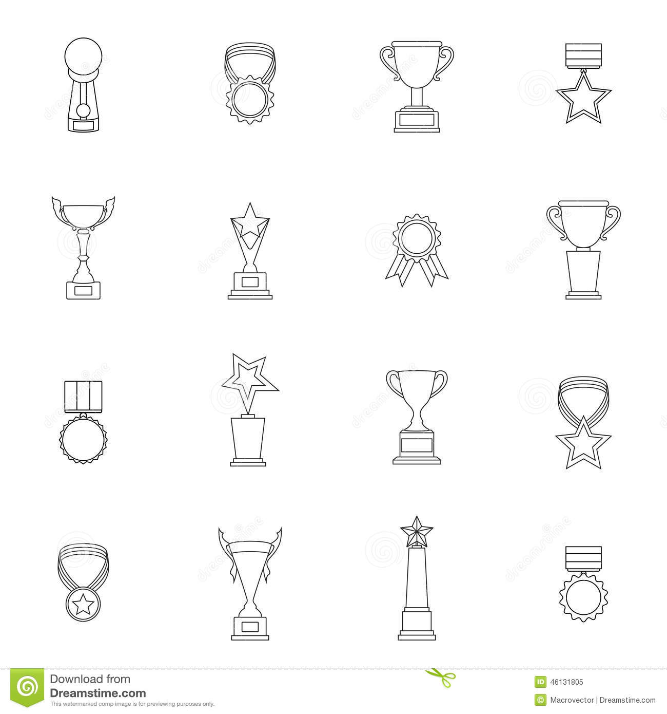 Trophy Icons Set Outline stock vector. Illustration of