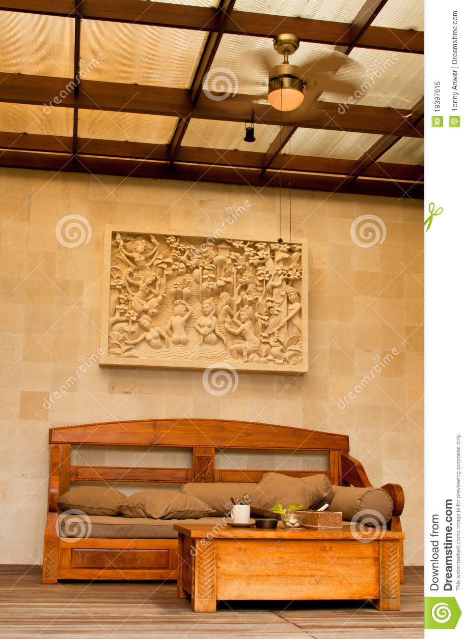 Tropical Bali Themed Living Room Stock Image  Image 18397615