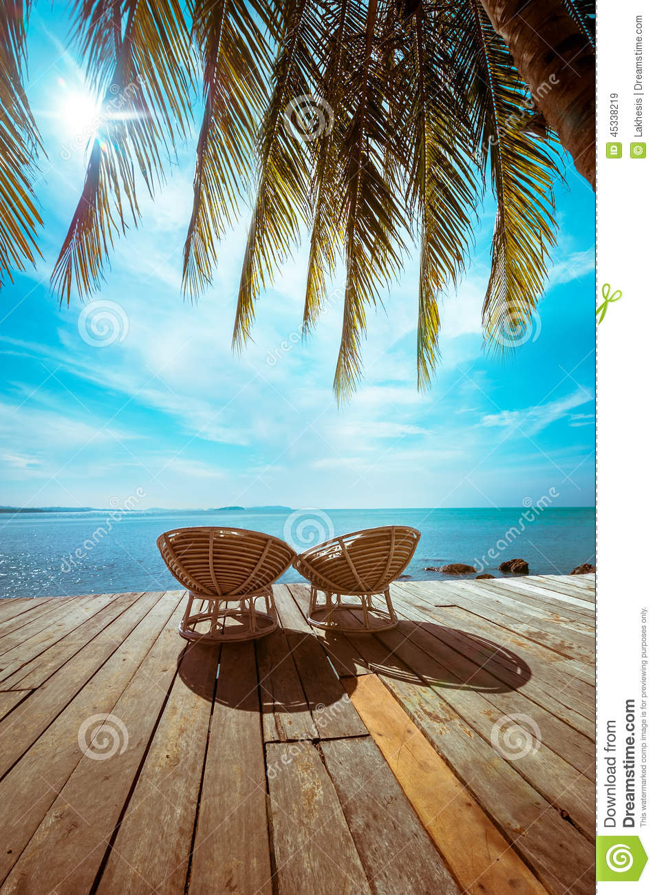 wooden beach chairs plans chair standards tropical with palm tree and stock image - of concept, nature: 45338219