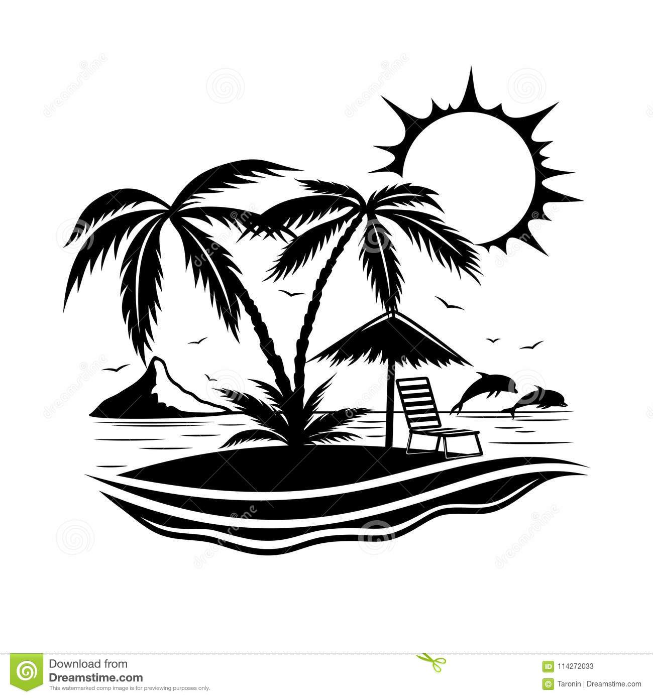 Tropical Beach With Palm Trees Stock Vector