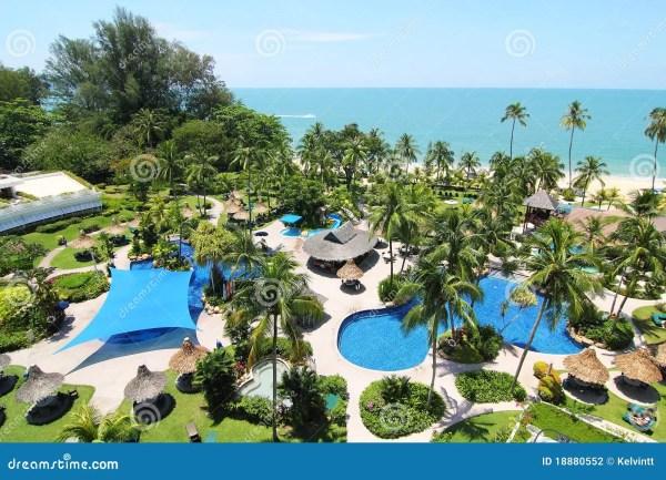 tropical beach resort stock