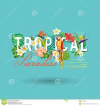 Tropical Bird And Flowers Graphic Design