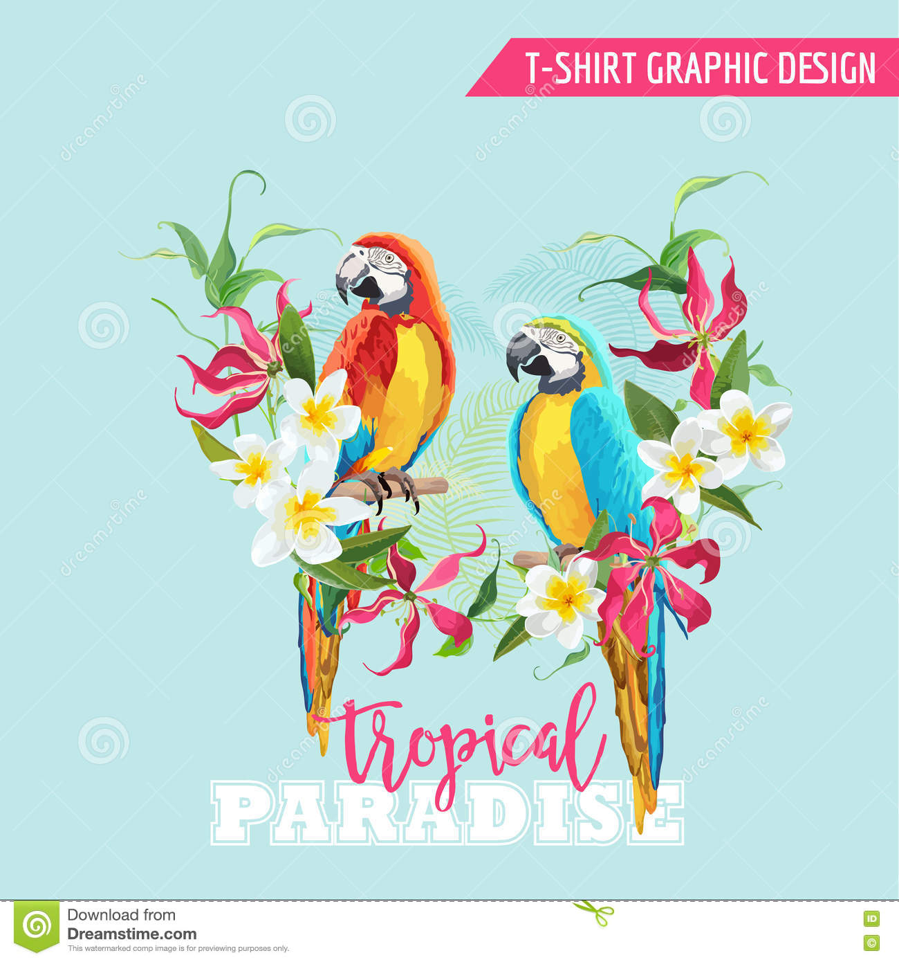 Tropical Graphic Design. Parrot Bird And Tropical Flowers