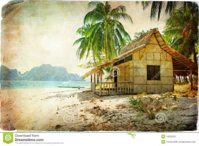 Tropical hut stock image. Image of palm, bungalow ...
