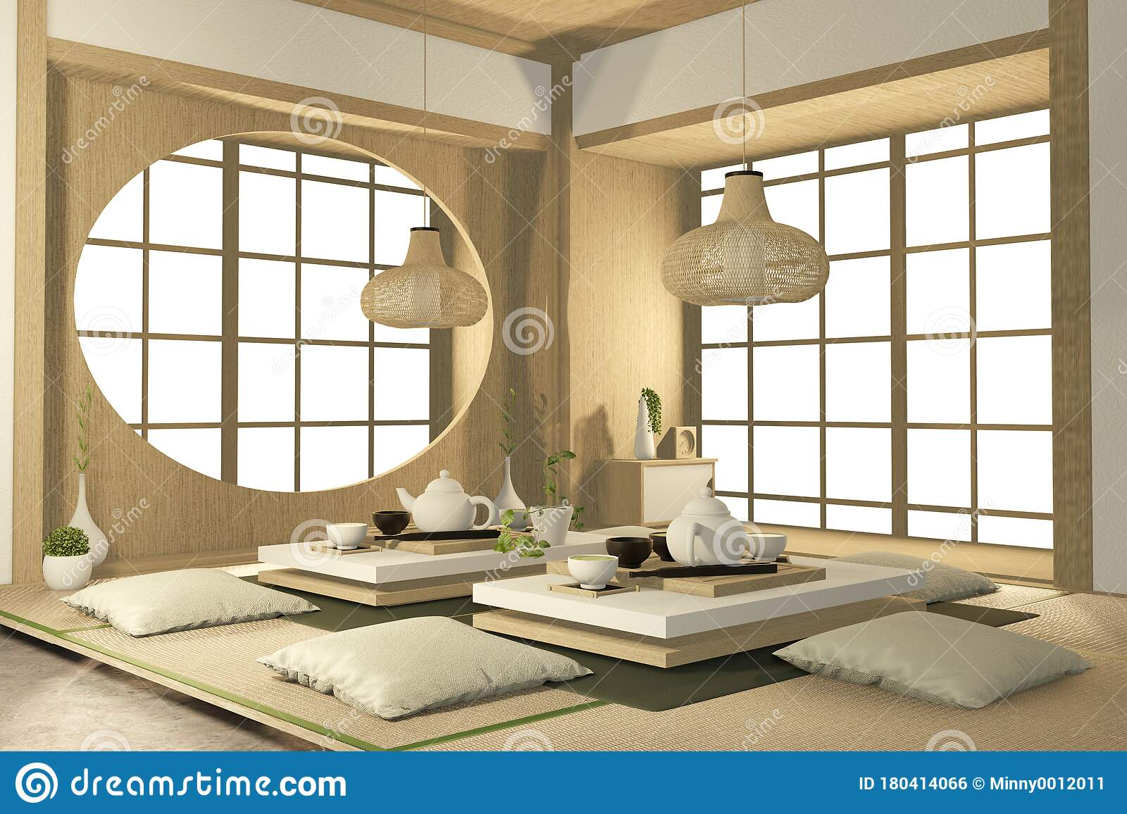 Tropical Interior Design With Sofa For Living Room Japanese Style 3d Rendering Stock Illustration Illustration Of Apartment Beautiful 180414066