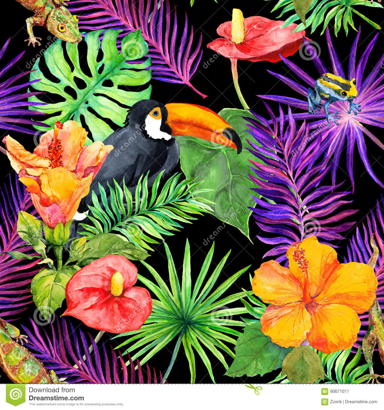 Frida Kahlo Wallpaper Iphone Tropical Leaves Exotic Flowers Toucan Bird Gecko