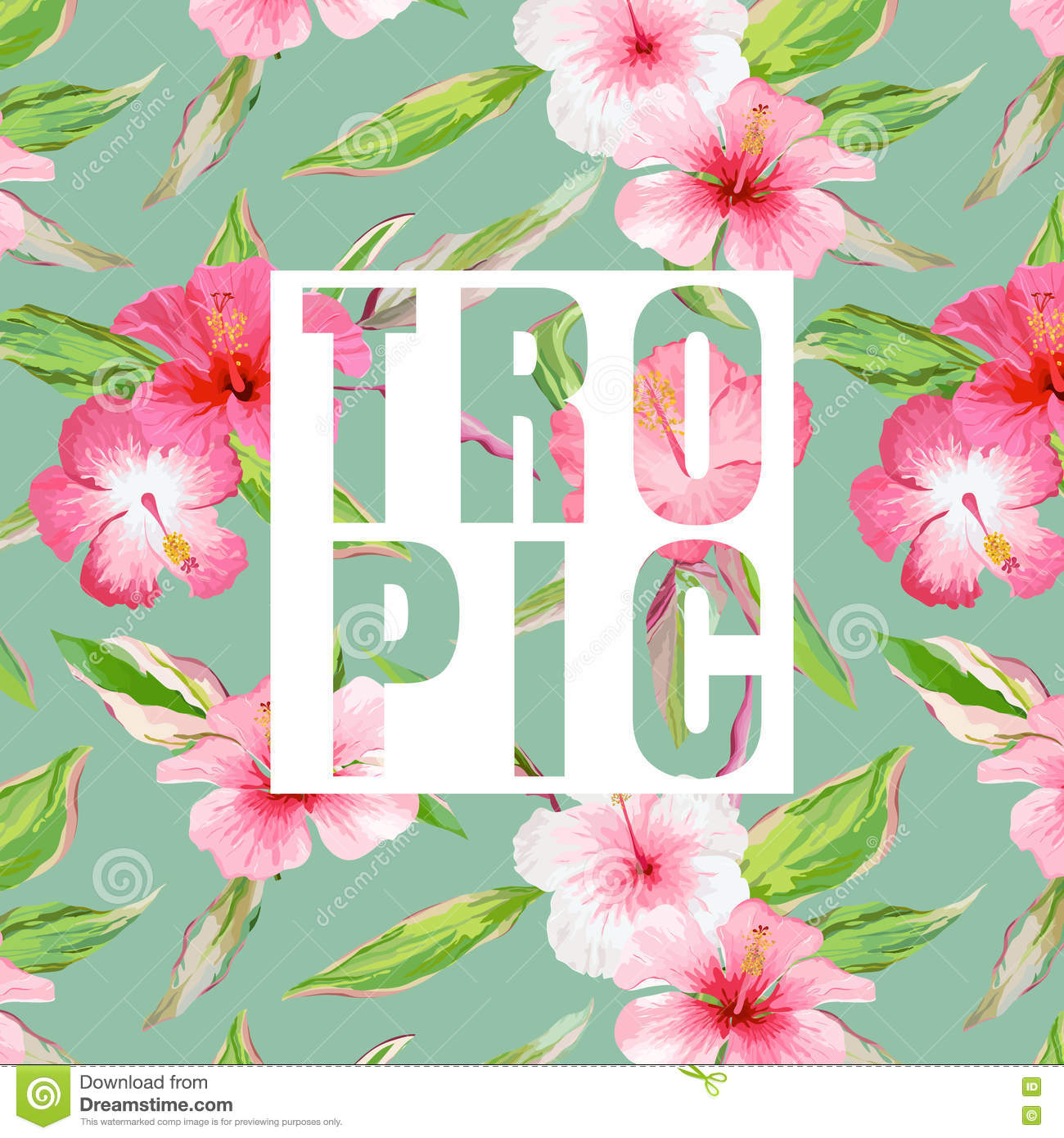 Tropical Leaves And Flowers Background. Graphic T